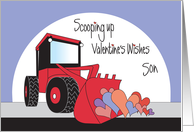 Valentine's Day for Son, Red Front Loader Scooping Up Hearts card