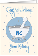 Retirement for Pharmacist, Mortar & Pestle with Festive Confetti card