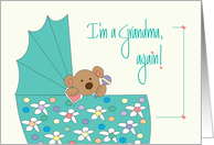 New Baby Announcement for Grandma, Bear in Floral Bassinette card