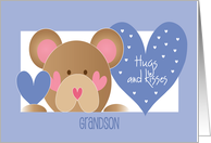 First Valentine's Day for Grandson with hugs and kisses card