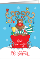 Christmas for Great Granddaughter, Reindeer with Ornaments card