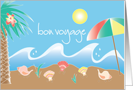 Bon Voyage with colorful palm tree and seashells card