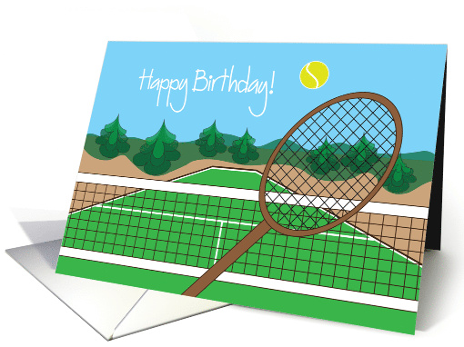 Happy Birthday For Tennis Player With Tennis Racquet And Ball Card