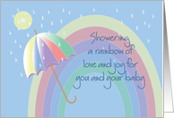 Baby Shower, Showering Rainbow of Love & Joy for New Baby card