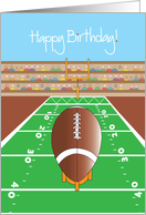 Happy Birthday Football Card, with Football and Goalpost card