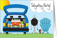 Football Tailgating Party Invitation with football and goalpost card