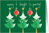 Christmas Party Invitation, Merry & Bright, with Trees & Ornaments card