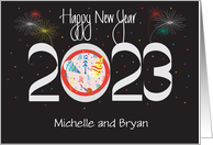 New Year's Card for 2014 with Fireworks and Party Hats card