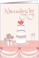 Congratulations for wedding with bridal cake and hearts card