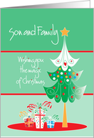 Christmas for Son and Family with decorated tree card