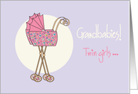 Congratulations, new twin granddaughters with pink strollers card