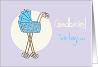 Congratulations, new twin grandsons with blue strollers card