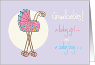 Congratulations, twin grandchildren, boy & girl, colorful strollers card