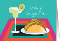 Invitation for Cinco de Mayo Party with Margarita and Tacos card