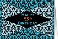 Zebra Print Kaleidoscope Design for 55th Birthday card