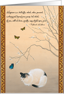 Cat and Plum Blossoms with Butterflies Japanese Painting Birthday card
