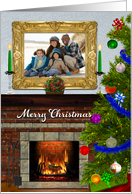 Merry Christmas Fireplace and Christmas Tree Photo Card