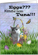 Kitty Cat in Easter Basket w/ Eggs and Butterflies - Kittehs Nom Tuna card