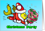 Christmas Party INVITATION gift wrapping party fun Santa Claus Fish card