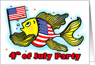 4th of July Party supporting our troops Invitation American Flag Fish card
