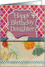 Happy Birthday Daughter Scrapbook Style Butterflies and Flowers card