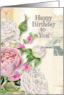 Happy Birthday to You Feminine Vintage Look Flowers & Paper Collage card