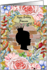 Happy Birthday for Girls Garden Wall Silhouette and Beautiful Flowers card