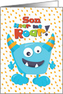 Happy Birthday Son Funny Blue Monster card