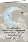 Happy Birthday Granddaughter Blue Crescent Moon and Stars card