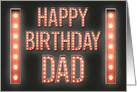 Happy Birthday Dad Marquee Lights Vintage Sign card