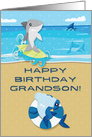 Happy Birthday to Grandson Ocean Scene with Sharks card
