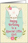 Happy Birthday to a Special Little Girl Cute Kitty and Flowers card