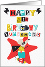 Happy 6th Birthday Superhero Comical Skateboarding Mouse card