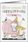 Happy Birthday to Great Granddaughter Cute Kitty Whimsical Scene card