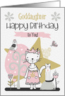 Happy Birthday to Goddaughter Cute Kitty Whimsical Scene card