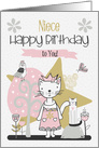 Happy Birthday to Niece Cute Kitty Whimsical Scene card