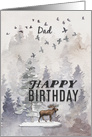 Happy Birthday to Dad Moose and Trees Woodland Scene card