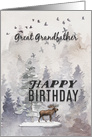 Happy Birthday to Great Grandfather Moose and Trees Woodland Scene card