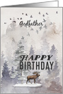 Happy Birthday to Godfather Moose and Trees Woodland Scene card