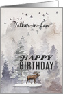 Happy Birthday to Father in Law Moose and Trees Woodland Scene card