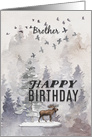 Happy Birthday to Brother Moose and Trees Woodland Scene card