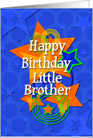 Happy Birthday Little Brother Colorful Stars card