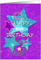 Happy Birthday Personalize Age for Girl Colorful Stars and Swirls card