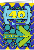 Happy 40th Birthday Just a Number Funny Chevrons and Polka Dots card