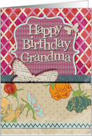 Happy Birthday Grandma Scrapbook Style Butterflies and Flowers card