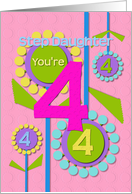 Happy Birthday Step Daughter You're 4 Fun Colorful Flowers card