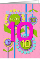 Happy Birthday Step Daughter You're 10 Fun Colorful Flowers card
