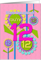 Happy Birthday Step Daughter You're 12 Fun Colorful Flowers card