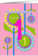 Happy Birthday Step Daughter You're 1 Fun Colorful Flowers card