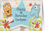 Happy Birthday Awesome Boy Custom Name and Age Aliens for Children card